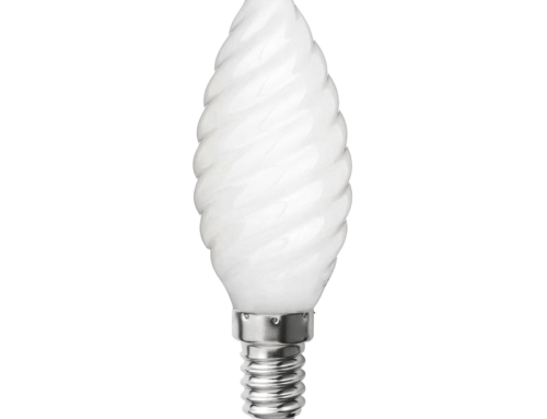 Filament LED – Flamme torsadée verre opaque C37 E14 – 230 V